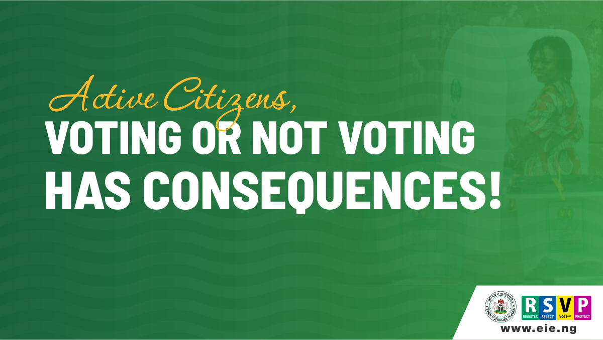 Flyer stating that voting or not voting has consequences